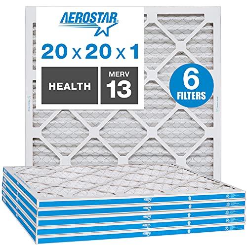 Aerostar 20x20x1 MERV 13 Pleated Air Filter, AC...