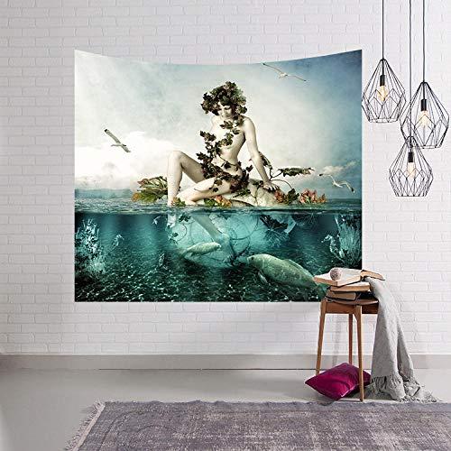 PJX Ocean Jungle - Tapiz decorativo para pared, diseño de hada de graffiti sexy, para dormitorio o mesita de noche, de franela de 200 x 150 cm