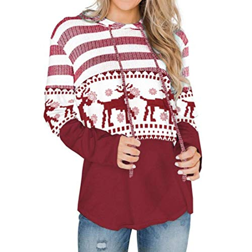 Women Pullover Women Tops Casual Long Sleeve Splicing Christmas Halloween Loose Women Hoodie New Casual Trendy Women Sweatshirt Women Streetwear C-Red XXL