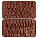2 Piezas Molde de Silicona con Letra Inglesa,moldes de Chocolate para Letras y números moldes de Silicona para Chocolate moldes de Silicona para Fondant para Hornear Pasteles decoración para Pasteles