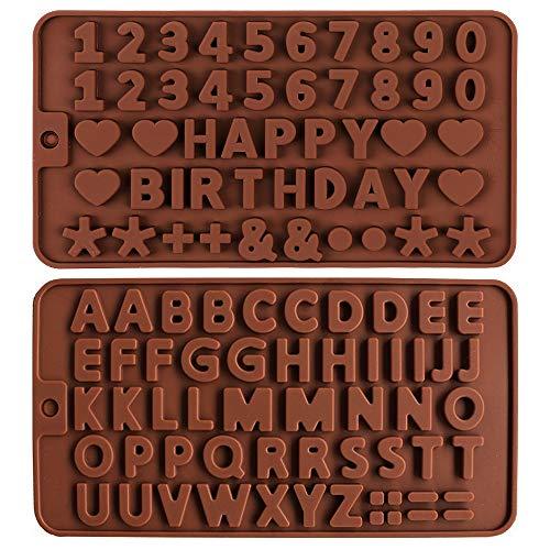 2pezzi Stampo in Silicone Lettera Inglese,Stampo in silicone a forma di numero alfabeto Stampi per lettere e numeri di cioccolato Stampi per cioccolato in silicone per dolci da forno Candy Cake Topper