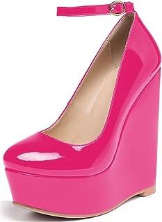 YODEKS Women's Wedge Heel Pumps,Platform High Heel Wedge Pump Shoes,Ankle Strap Round Toe Red Dress Heels