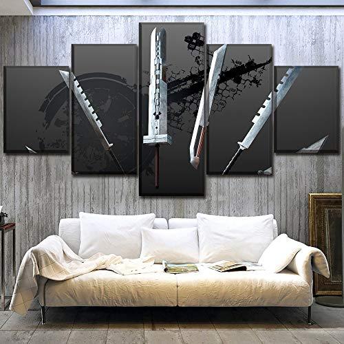 juntop Lienzo Arte De La Pared Imágenes HD Imprime Poster 5 Unidades Juego Final Fantasy VII Pinturas De Espadas para La Sala De Estar Decoración del Hogar Trabajo(Sin Marco)