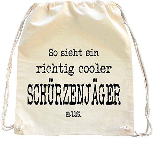 Mister Merchandise Turnbeutel Natur Rucksack So Sieht EIN richtig Cooler Schürzenjäger aus, Farbe: Natur