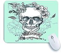 ECOMAOMI 可愛いマウスパッド 死者の頭蓋骨と花の日 滑り止めゴムバッキングマウスパッドノートブックコンピュータマウスマット