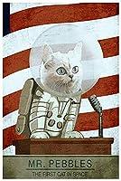 2個 Mr Pebbles 宇宙で初めての猫 ゲーム 面白い装飾 ポスター ブリキサイン 12x8インチ ホーム キッチン 寝室 バーサイン デコレーション ポスター ブリキサイン ハロウィン 感謝祭 ギフト