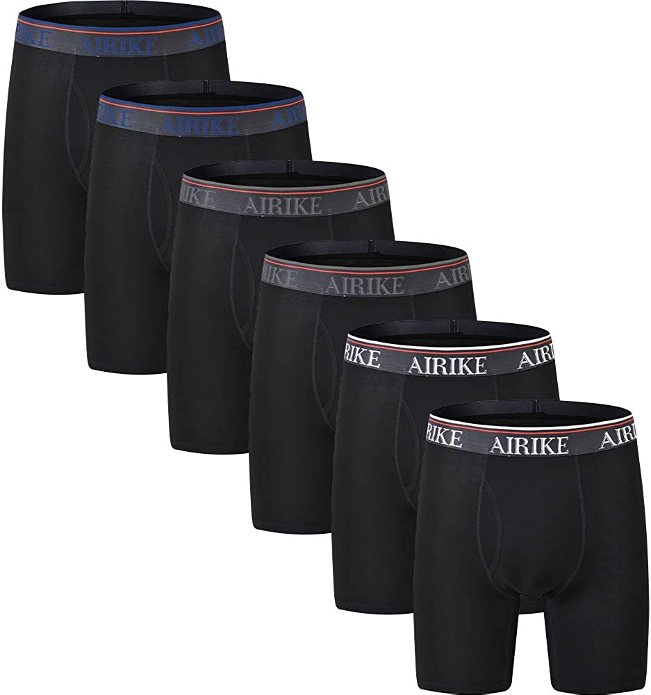 AjezMax Mens Boxer Briefs Long Leg Pack Big and Tall Underwear Soft Bamboo Underpants