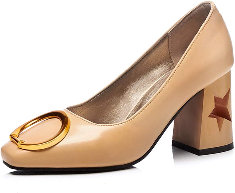 GIY Women's Classic Pump Oxford shoes Buckle Square Toe Slip-On Chunky Platform Block High Heel Oxfords