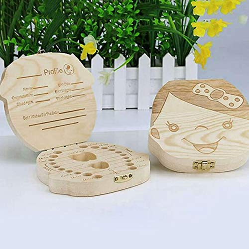Kreative Baby Zähne Box Saver Aufbewahrungsbox Holz Kinder Zahnhalter Organisieren Box Milch Zähne Andenken für Jungen - Holz