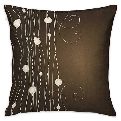 Taie d'oreiller personnalisée carrée chocolat fleurs abstraites avec lignes pointillées inspirations vintage en composition romantique housses de coussin marron beige taies d'oreiller pour canapé cham