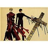 yitiantulong Anime Giapponesi Trigun Poster Adesivi Murali Poster retrò Stampe Ad Alta Definizione per Soggiorno Decorazione Domestica A317 (50X70Cm) Senza Cornice