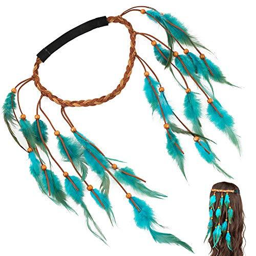Longle Boho Hippie hoofdband met veer, boheemse hoofdbedekking, handgeweven, kwast, haarsieraad, voor dames en meisjes, carnaval, hoofdtooi