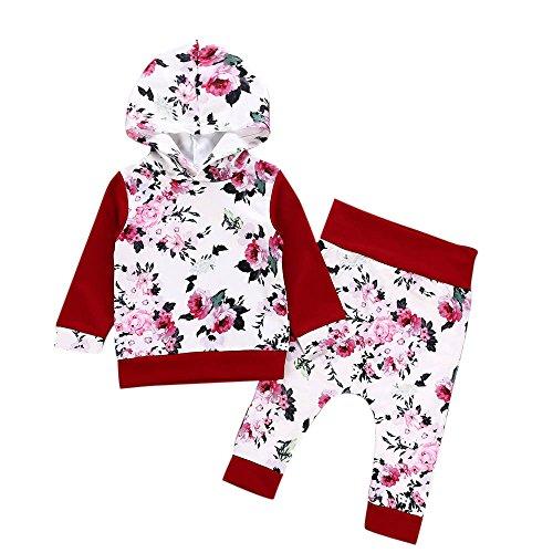 Hawkimin_Babybekleidung Hawkimin 2 PC Neugeborenes Baby Jungen Mädchen Blumendruck Mit Kapuze Tops Pullover Hosen Outfits Set