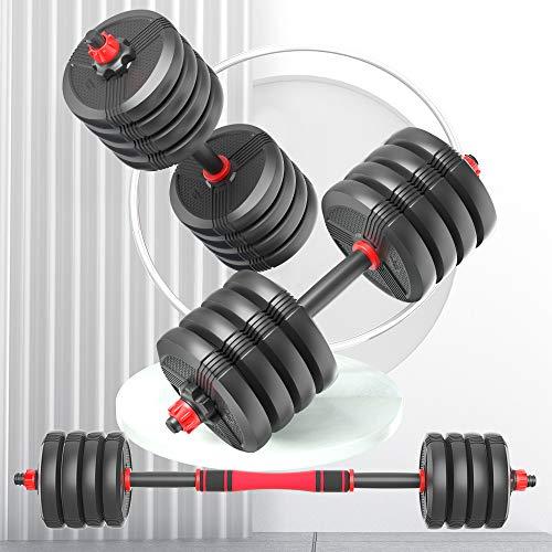 RUNWE 45 lb Dumbbell Set of 2, Adjustable Dumbbells Barbell 2-in-1 Free Weights Set Core Fitness Equipment Heavy Dumbbells for Home Gym for Men/Women