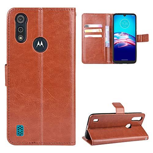 Snow Color Moto E6S 2020 Hülle, Premium Leder Tasche Flip Wallet Case [Standfunktion] [Kartenfächern] PU-Leder Schutzhülle Brieftasche Handyhülle für Motorola Moto E6S 2020 - COBYU030819 Braun