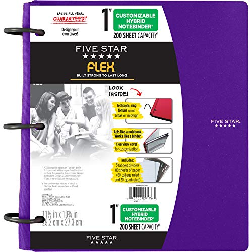 Five Star Flex Hybrid NoteBinder, 1 Inch Binder with Tabs, Notebook and 3 Ring Binder All-in-One, Purple (72514)