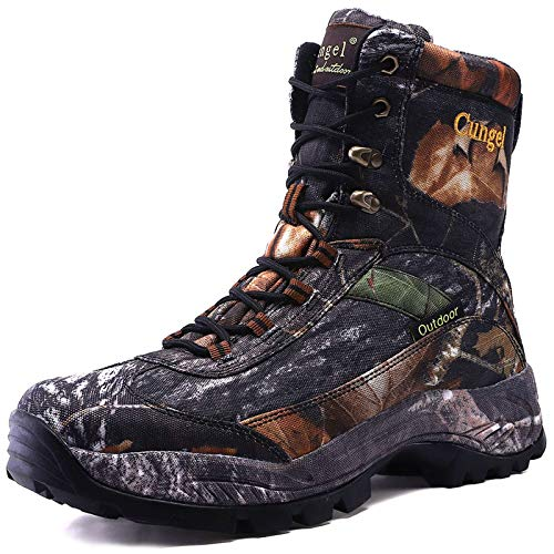cungel Men's Hunting Boot 8-INCH Camouflage Timber Waterproof Hunter Shoes Forest Boots Jungle Anti-Slip Lightweight Breathable Durable Fishing Hiking Working Field Hunting(Black camo,8)