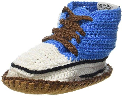 Baobab schoenen, handgehaakte baby bio sneaker met anti-slip suède zool, 21-24 maanden (blauw4)