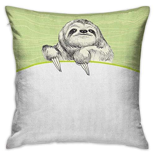 N\A Sloth Square Funda de Almohada Protector Dibujado a Mano Perezoso Perezoso...