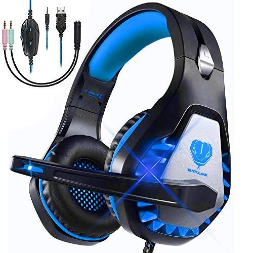 Cascos Gaming para PS4 Xbox One Nintendo Switch Laptop PC, DIWUER Auriculares Gaming de Estéreo con Micrófono Bass Surround y Cancelación de Ruido Auriculares, 3.5mm Interfaz y Luz LED