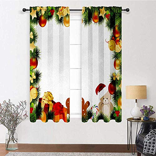 Interestlee French Door Curtains Kids Christmas for Bedroom Study Room Garland Frame Design with Evergreen Fir Tree Bear Toy and Gingerbread Man 2 Panels 84' x 96' Multicolor