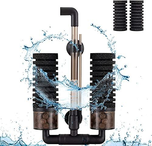 hygger Filtri Acquario 57L-208L, Doppia Filtro Spugna Interno Sommergibile, con 2 Ficambio Spugna e 1 Sacchetto Palline Ceramica(M)
