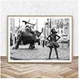 Fearless Girl Statue Black and White Feminism Poster New York Canvas Prints Feminist Girl Power Art Canvas Painting Wall Decor-50x70cm-No Frame