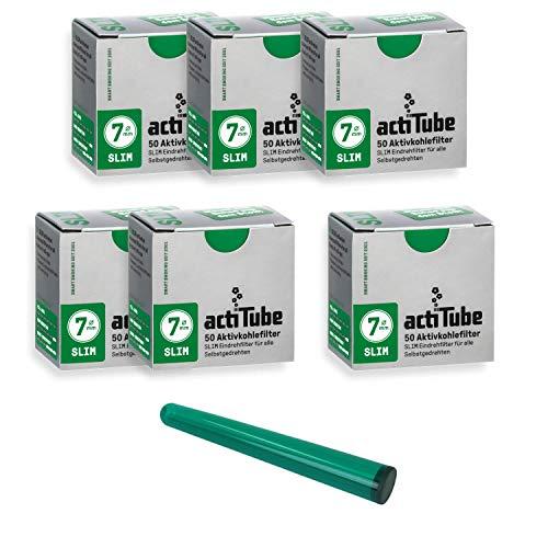 actiTube - Juego de filtros de carbón activo Slim Kogu, 7,1 mm, incluye un saverette, 6x50 (300)