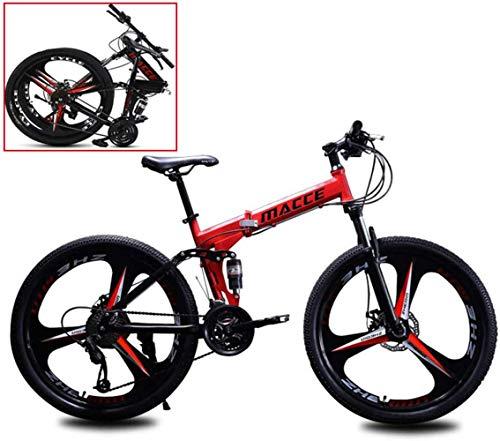YANGSANJIN Vélo de Montagne vélo Adulte Pliant 26 Pouces Double Amortisseur Vitesse Hors Route Course garçons et Filles vélo, pour Homme, Femme, Ville