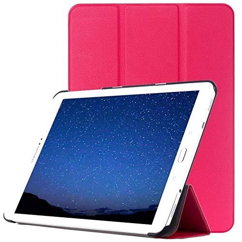 WEI RONGHUA Fundas de Tableta Funda de Cuero Custer Texturacon diseño Vuelta Horizontal con Soporte Tres Plegable for Samsung Galaxy Tab S2 9.7 / T815 Accesorios (Color : Magenta)