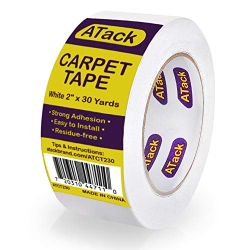 ATack Carpet Tape for Area Rugs and Carpets, Removable, 2 Inches x 30 Yards, Ideal for Stair Treads, Rugs, Carpets Over Carpets or Delicate Hardwood Floors