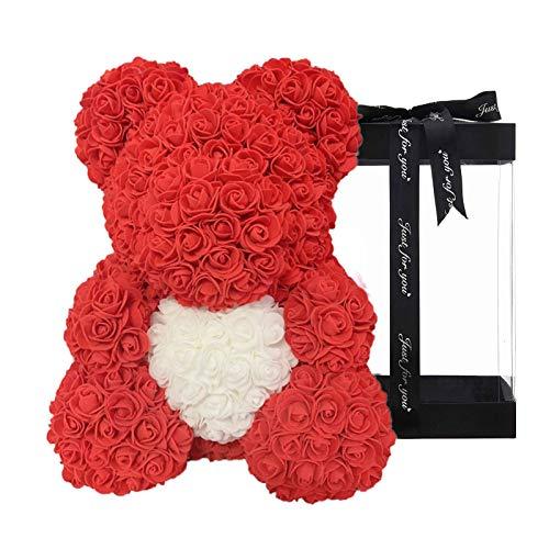 Clevoers Rosenbär 10 Zoll Teddy Forever Rose Blumenbär Künstliche simulierte Blumen-Feiertagsgeschenke für Jahrestag, Weihnachten, Valentinstag + transparente Schachtel