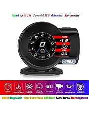 HUD OBD2 Display OBD-II Diagnostic Tool 6 Display Modes RPM Speedometer Fatigue Driving Alarm Water Temperature Alarm Instant Voltage Driving Mileage A/F Ratio Oil Temperature Intake/Turbine Pressure