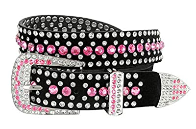 "Women Rhinestone Belt Fashion Western Cowgirl Bling Studded Design Suede Leather Belt 1-1/4""(32mm) wide (Pink, 34'' M)"