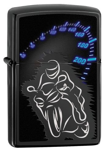 Zippo Bike and Speedometer Feuerzeug, Messing, Schwarz, One Size