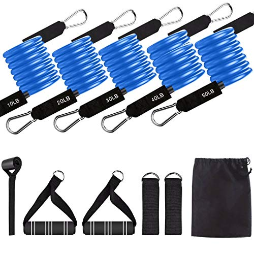 Xeapoms 11 Pcs Resistance Bands Set Up to 150 Lbs Exercise Bands with Door Anchor,Handles,Waterproof Carry Bag,Legs Ankle Straps for Resistance Training,Home Workouts,Physical Therapy,Fitness Yoga Gym