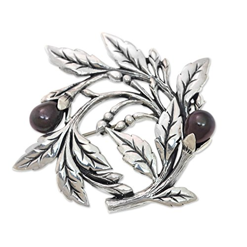 NOVICA Dyed Black Cultured Freshwater Pearl .925 Sterling Silver Floral Brooch Pin, Ebony Buds'