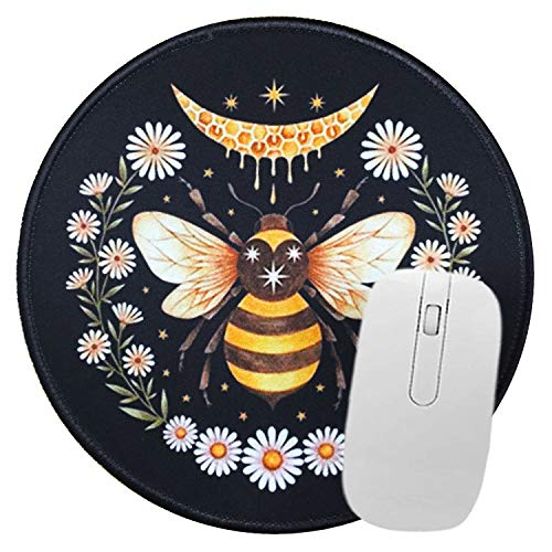 Mousepad Honey Bee Design Background Non-Slip Rubber Round Mouse Pad Personalized Mouse Pad Perfect for Working and Gaming