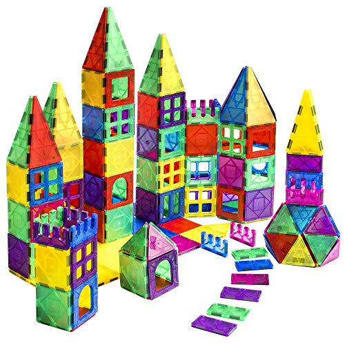 AMOSTING Magnetic Building Blocks for Kids, 102 Pcs MagnetTiles Construction Toys, Creativity Kids Educational Toys Brain Games for Kids with Guide Booklet for Edutainment Gift ( Carrying Bag)