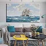 KWzEQ Moderno Paisaje Marino Vela Cartel Arte de la Pared Arte de la Lona Vela océano Pared Sala de Estar decoración del hogar,Pintura sin Marco,75x150cm