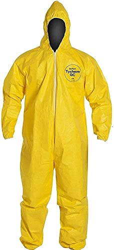 DuPont Tychem 2000 Standard Fit Hood Stormflap Elastic Wrists and Ankles Storm Flap with Adhesive Closure Bound Seams...