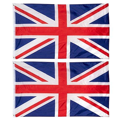 Juvale Flaggen Großbritannien (Set, 2 Stück) - Zwei Messingösen, zum Teil Doppelt Genäht - Ideal für Sportveranstaltungen wie EM, WM, Fußballpartys, Public Viewing und mehr - Polyester, 0,9 x 1,5 m
