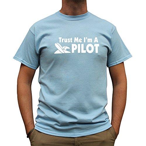 Nutees Trust Me Ik ben een piloot, vliegtuig helikopter grappige Mens T Shirt - lichtblauw