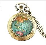 Reloj de bolsillo vintage con diseño de mapamundi y mapamundi