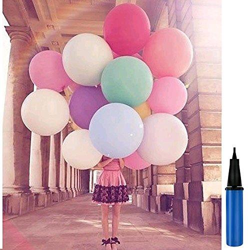 Lezed Großer Ballon Luftballons 36 Zoll Werbung Luftballons Riese Ballons Groß Latex Ballon 100% Latex für Geburtstag Valentinstag Hochzeit Party Festival Qualitätsware (4 Ballons +1 Ballonpumpe)