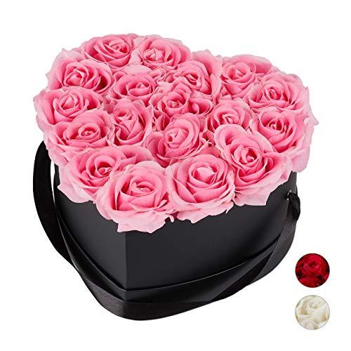Relaxdays Rosenbox Herz, 18 Rosen, stabile Flowerbox schwarz, 10 Jahre haltbar, Geschenkidee, dekorative Blumenbox, rosa