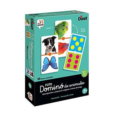 Diset, Domino Photo Animals, Juego de dominó fotográfico con animales a partir de 3 años