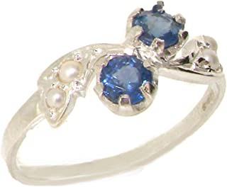 925 Sterling Silver Natural Sapphire and Cultured Pearl Womens Band Ring - Sizes 4 to 12 Available
