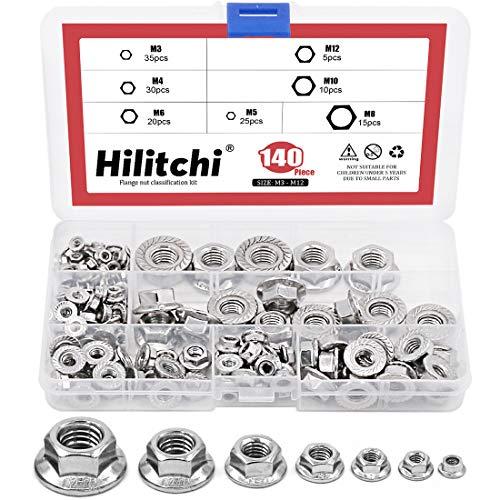 Hilitchi 140-Pcs M3 M4 M5 M6 M8 M10 M12 Hex Flange Nuts Assortment Kit - 304 Stainless Steel