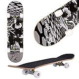 Skateboard, 31' x 8' Complete PRO Skateboard, 9 Layer Canadian Maple Wood Double Kick Tricks Skate Board Concave Design for Beginner,Gift for Kids Boys Girls Youths (3 - Black Pose)